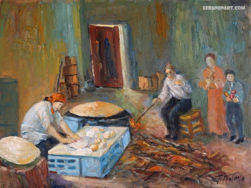 Lebanese bread Khobz saj - Painting artwork by Artist Joseph Matar