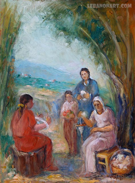 Wool spinning old Lebanon painting