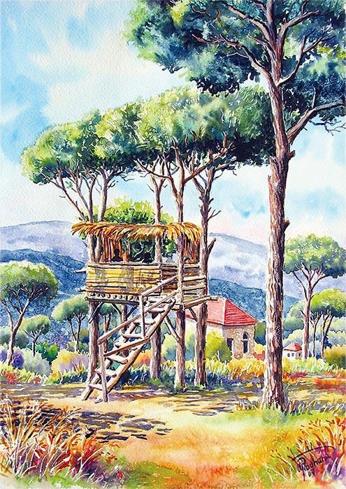 Hut between pines tree - Art painting