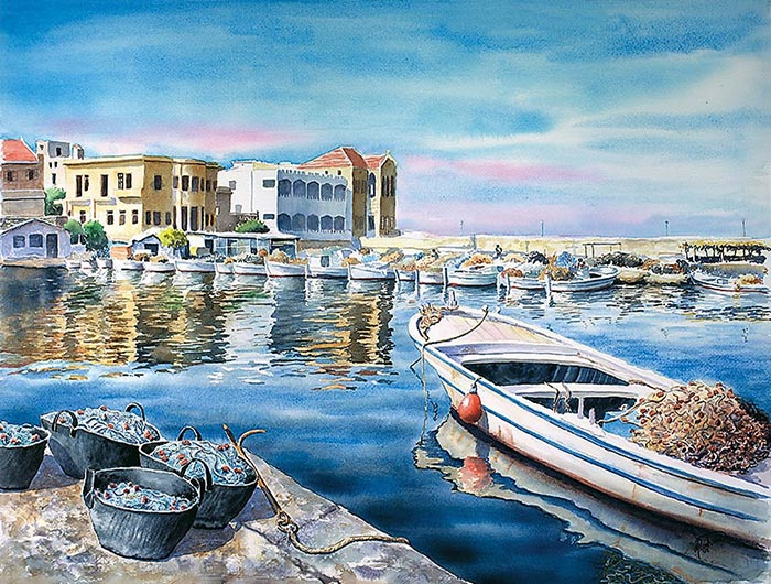 The old harbor of Tyre - Art print Artist Michel Rouhana