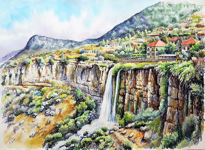 Old time Jezzine Waterfall in art print reproduction