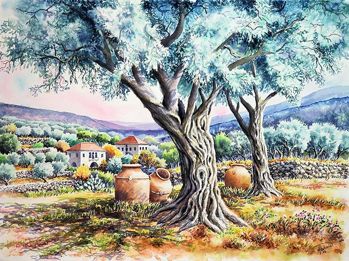 Jars and potteries and olive trees in a village