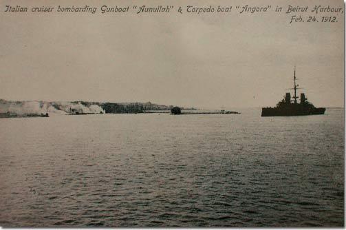 "Italian Cruiser bombarding Gunboat ""Aunullah"" & Torpedo boat ""Angora"" in Beirut Harbour, Feb. 24 1912"