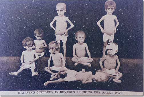 Starving Lebanese Children in Beirut during the Great War - 1919