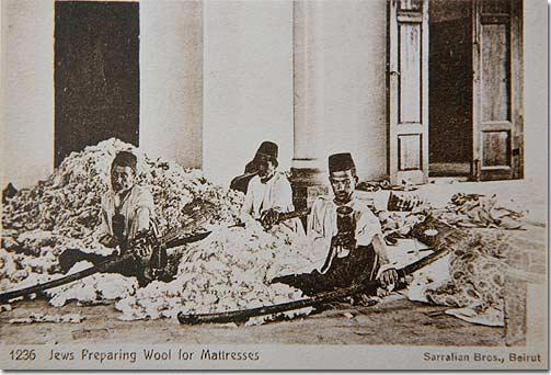 Jews preparing Wool for Mattresses, Beirut - 1920