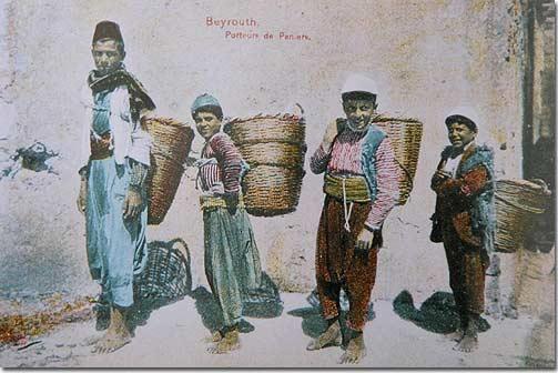 Beyrouth, Porteurs de Paniers - 1920