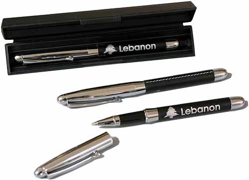 Stainless steel pen leather-lined
