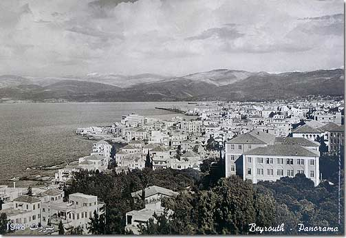 Beyrouth Panorama - Lebanese poster in Sepia