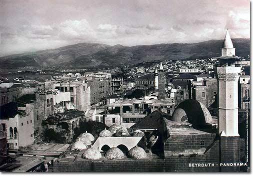Beirut - Panorama view - Lebanese poster in Sepia