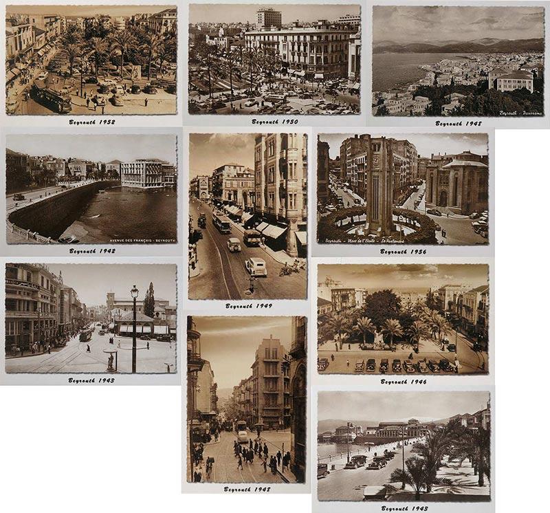 Sepia postcards of Beirut