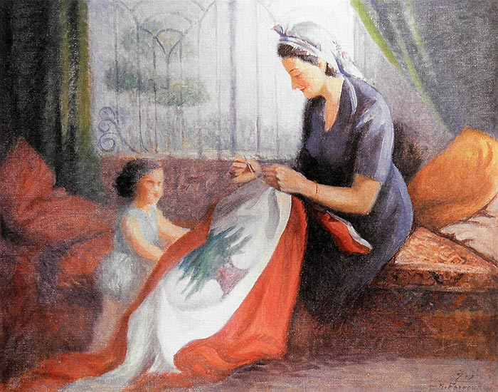 A mother sewing the flag in front of her daughter, Lebanon - 1950