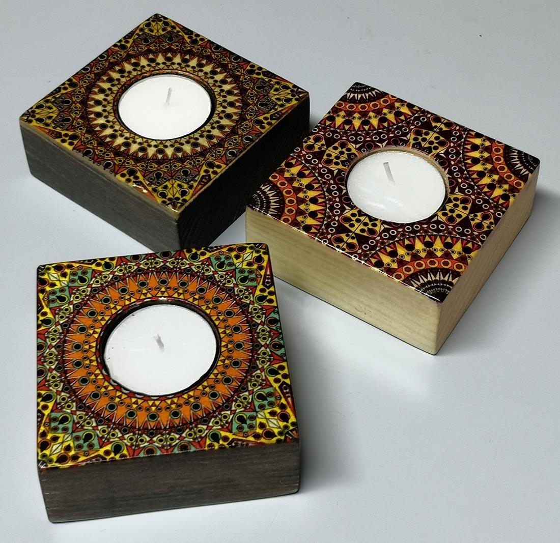 Decorative candles, beech wood