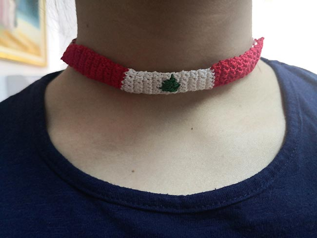 Handmade band weaving crochet neck