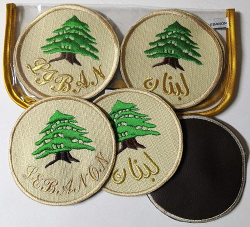 Embroidery mats on cloth - cedar of Lebanon